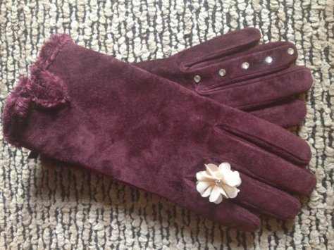 Etsy suede flower diamond glove
