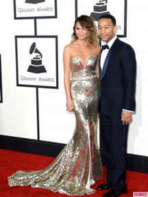 The subject of John Legend's beautiful ballad All of Me, Chrissy Teigen, shows everyone why she makes John Legend swoon as she dazzles in this gold gown.