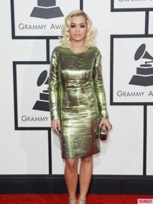 Rita Ora looks alluring in this long-sleeved Lanvin dress.