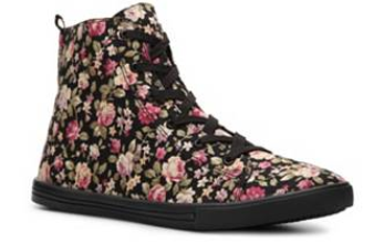 floral sneaker dsw black rose rosey flowers flower pink cute girly high top high-top hi hi-top
