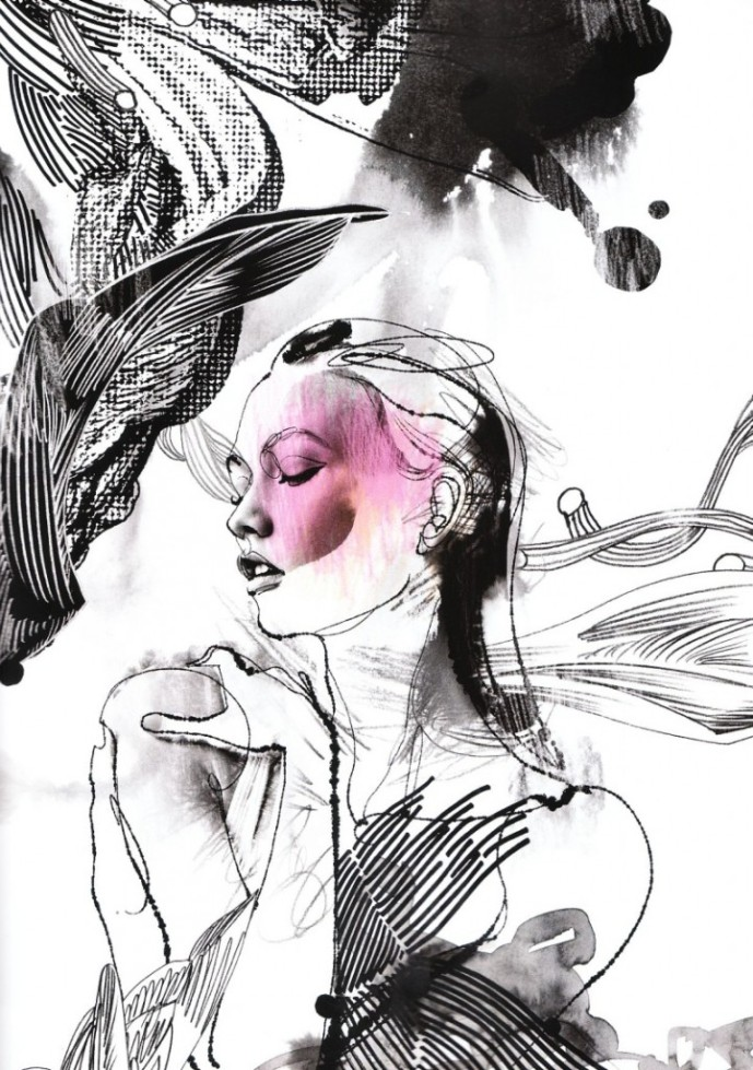 fashion art collage Julie Gartha Defragmentation of Beauty photographer Marcin Tyszka 25 Magazine Black and white fashion photography marker drawings paint